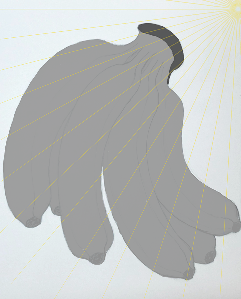 How to draw a banana_Light and shadow step-by-step_add light source