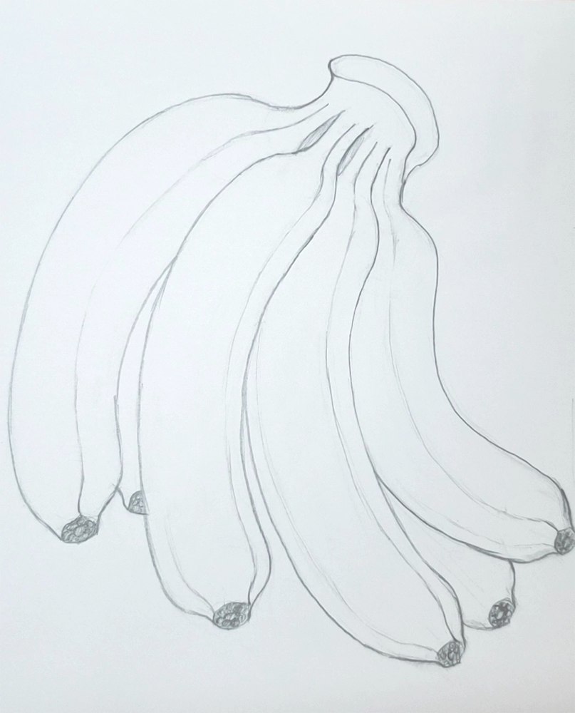 How to draw a banana_Light and shadow step-by-step_finished sketch
