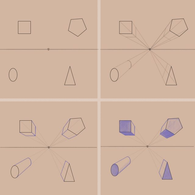 Shape to Form Using Perspective-Basic Shapes in One Point Perspective