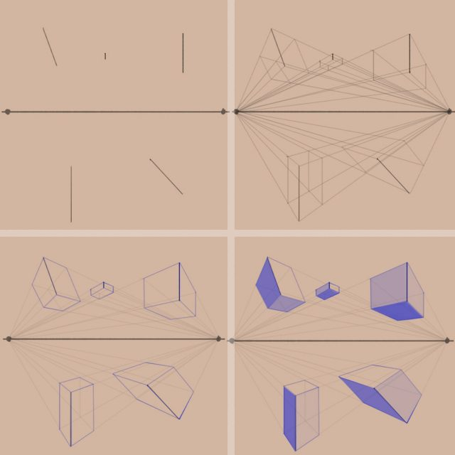 Shape to Form Using Perspective-Forms in Two-point perspective-Line to Form-Two-Point Perspective