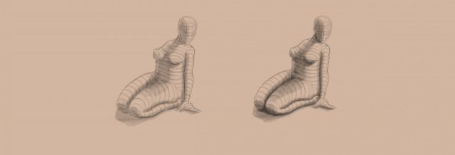 Shape to Form Using Space-Female form-value block-in-value range-cast shadows