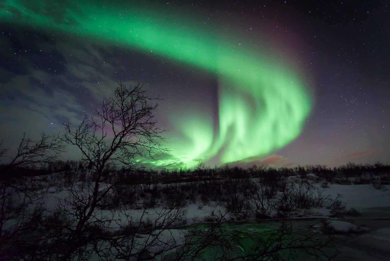 Distant Light Source Aurora Borealis