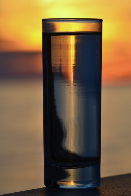 light transmission on a glass reflection and refraction