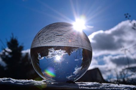 light transmission on glass ball refraction and reflection