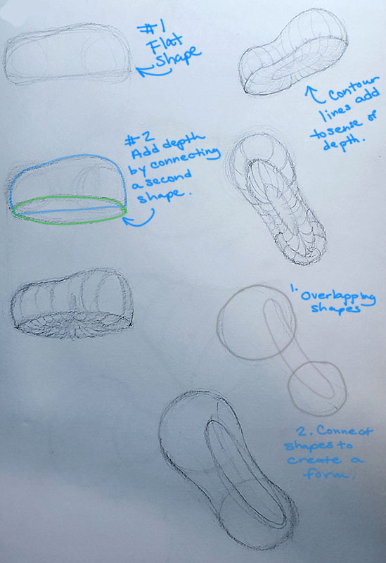 How to draw a mushroom_Construction - Shapes to forms 03