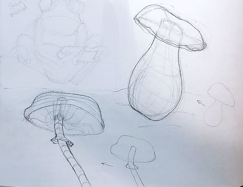 How to draw a mushroom_Exploration & study sketches 02