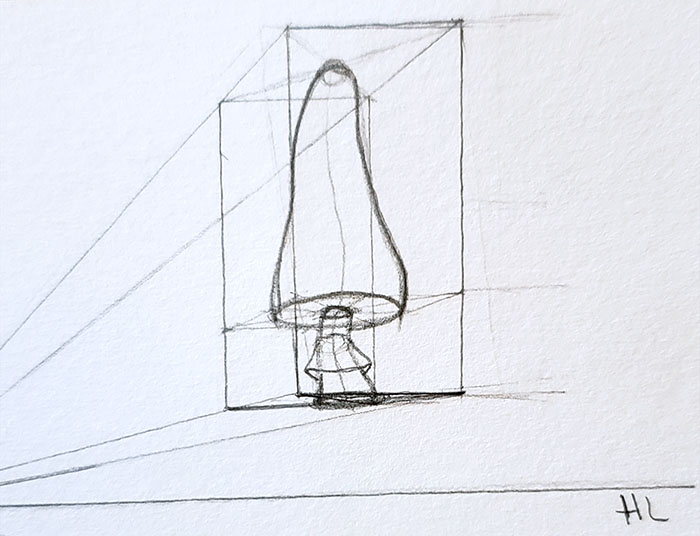How to draw a mushroom_in one point perspective 06-detail 2