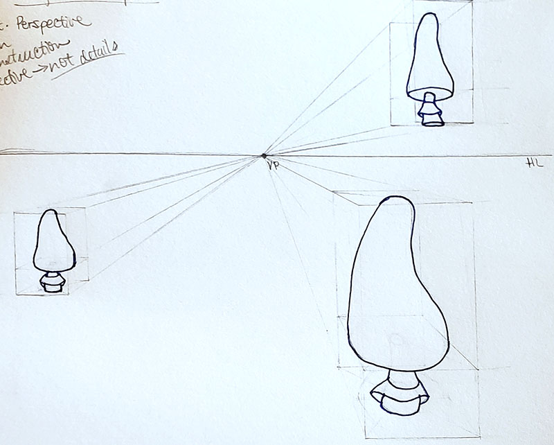 How to draw a mushroom_in one point perspective 07