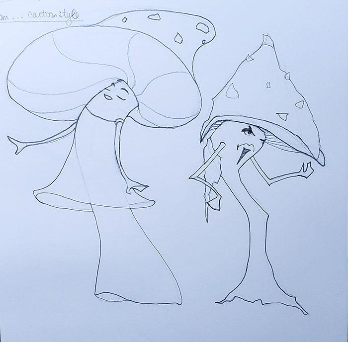 How to draw a mushroom_shape variations_cartoon style
