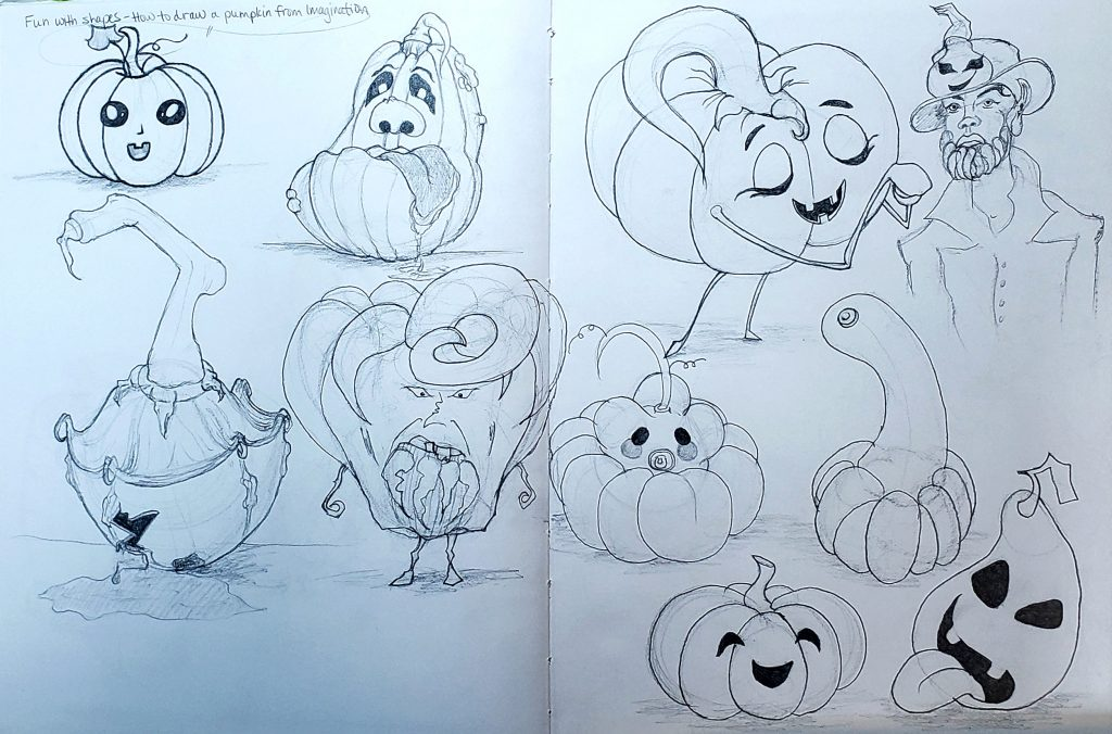 How to draw a pumpkin from Imagination