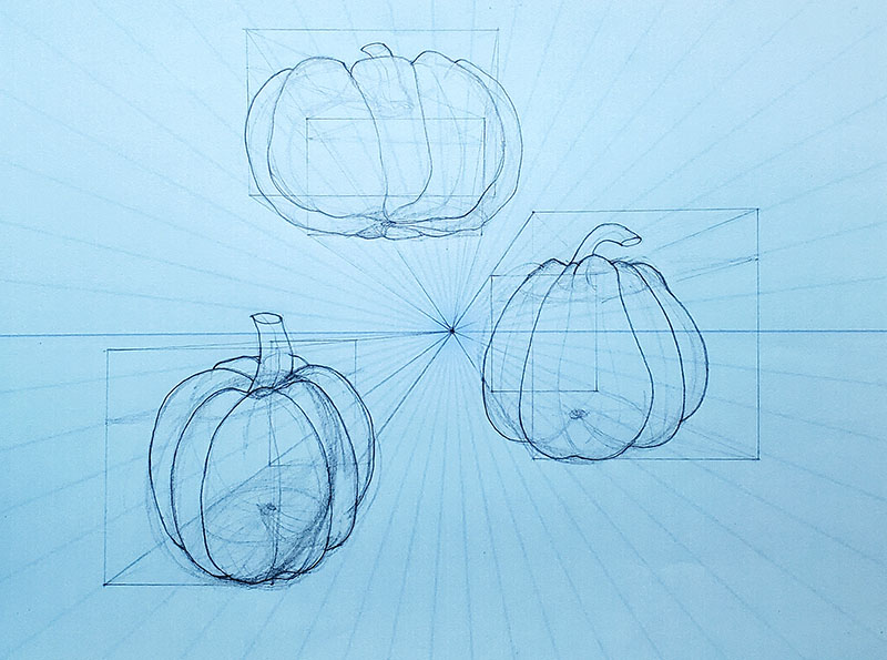How to draw a pumpkin_1-pt Perspective 07