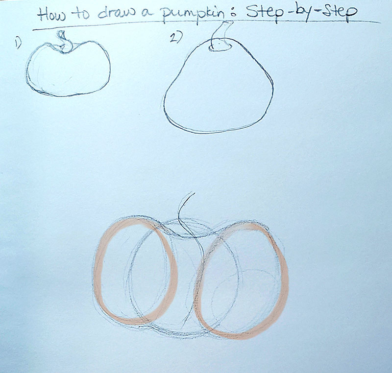 How to draw a pumpkin_Step by step with callout 01c
