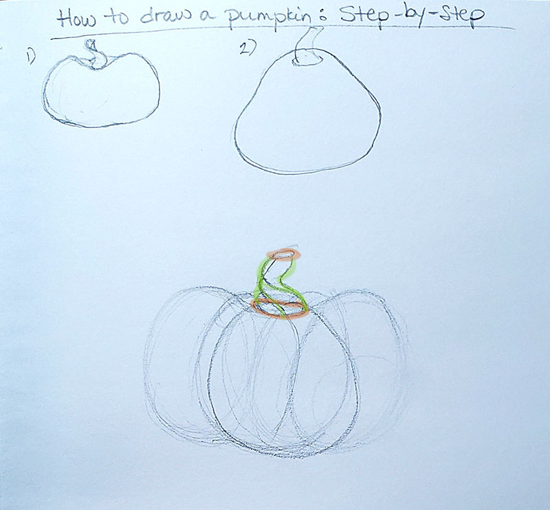 How to draw a pumpkin_Step by step with callout 01e