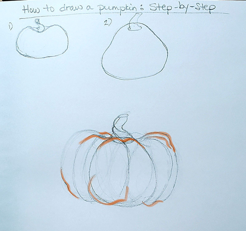 How to draw a pumpkin_Step by step with callout 01f