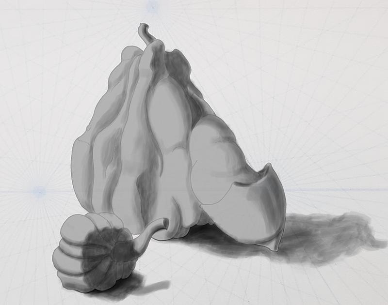 How to draw a pumpkin_lighting demo_006 deep & cast shadows