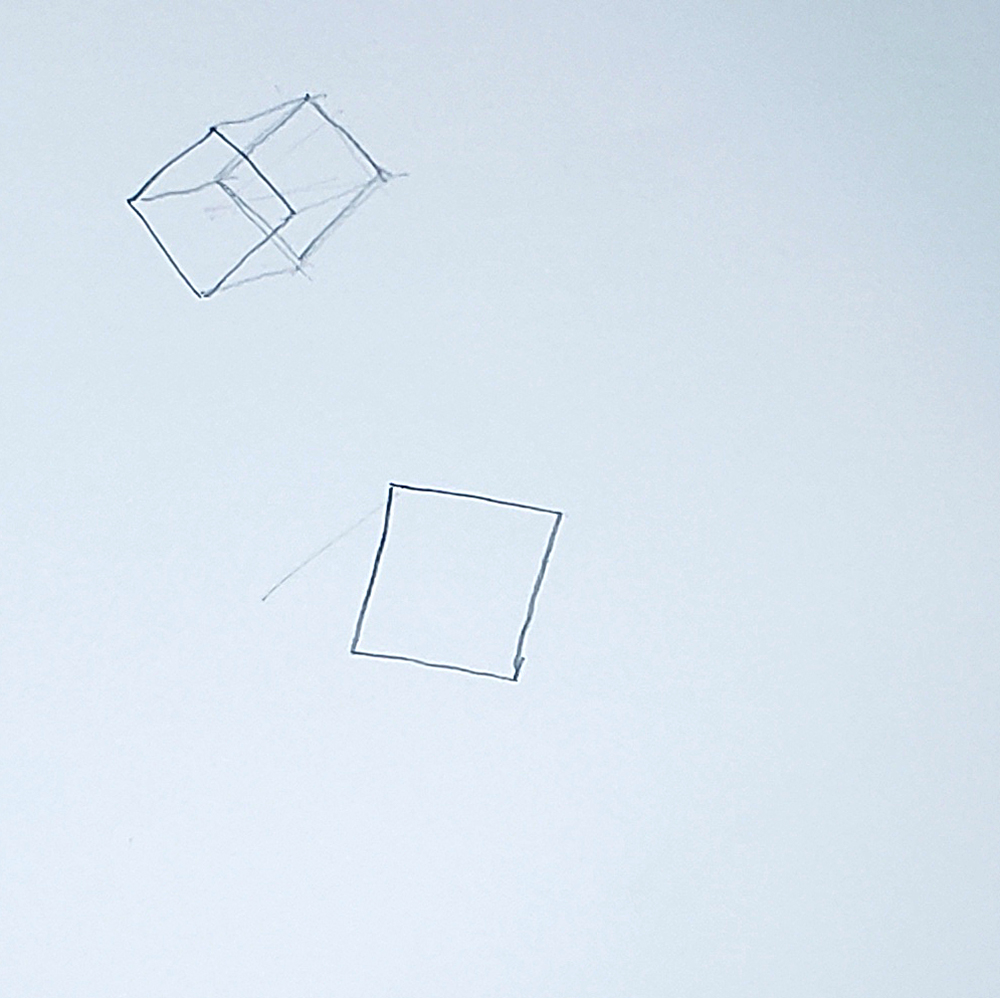 how to draw a cube_connect squares method step 01