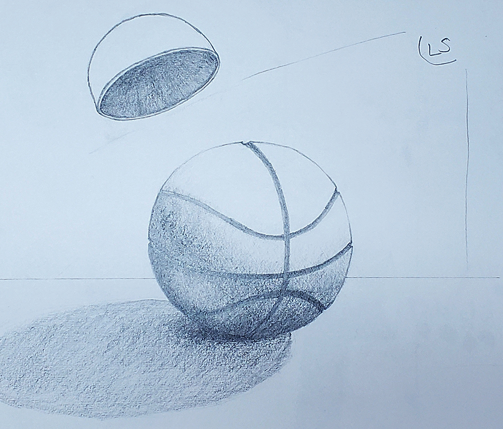 how to draw a basketball_basic lighting