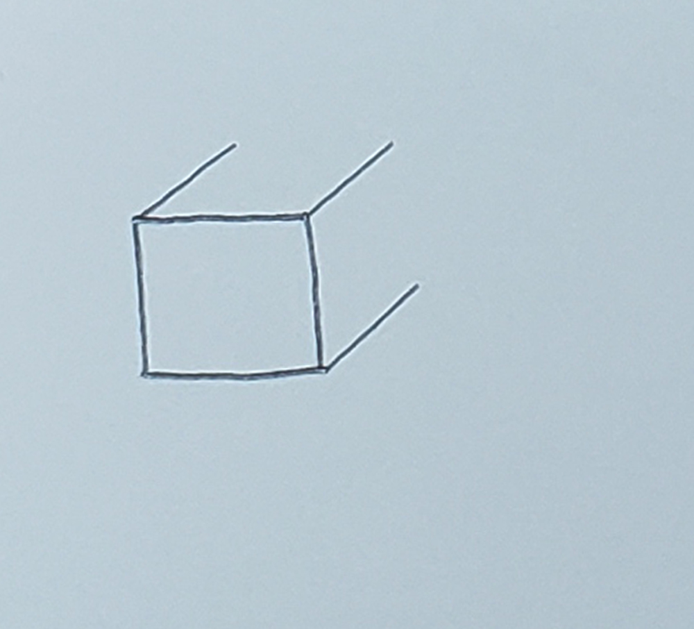 how to draw a cube_basic method step 2