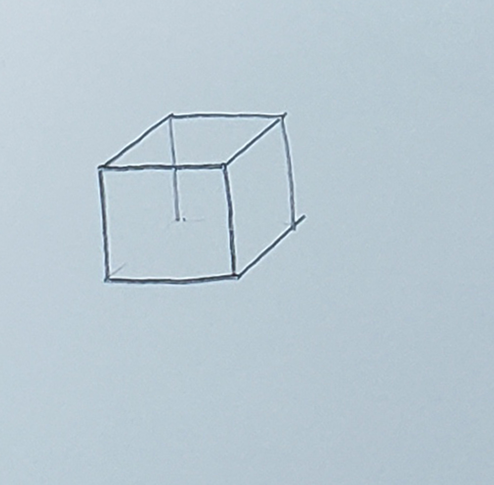 how to draw a cube_basic method step 3