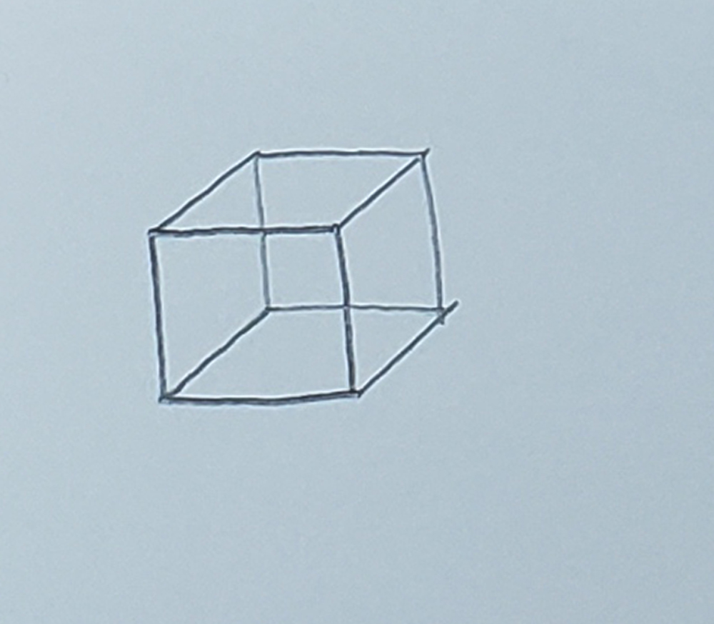 how to draw a cube_basic method step 4