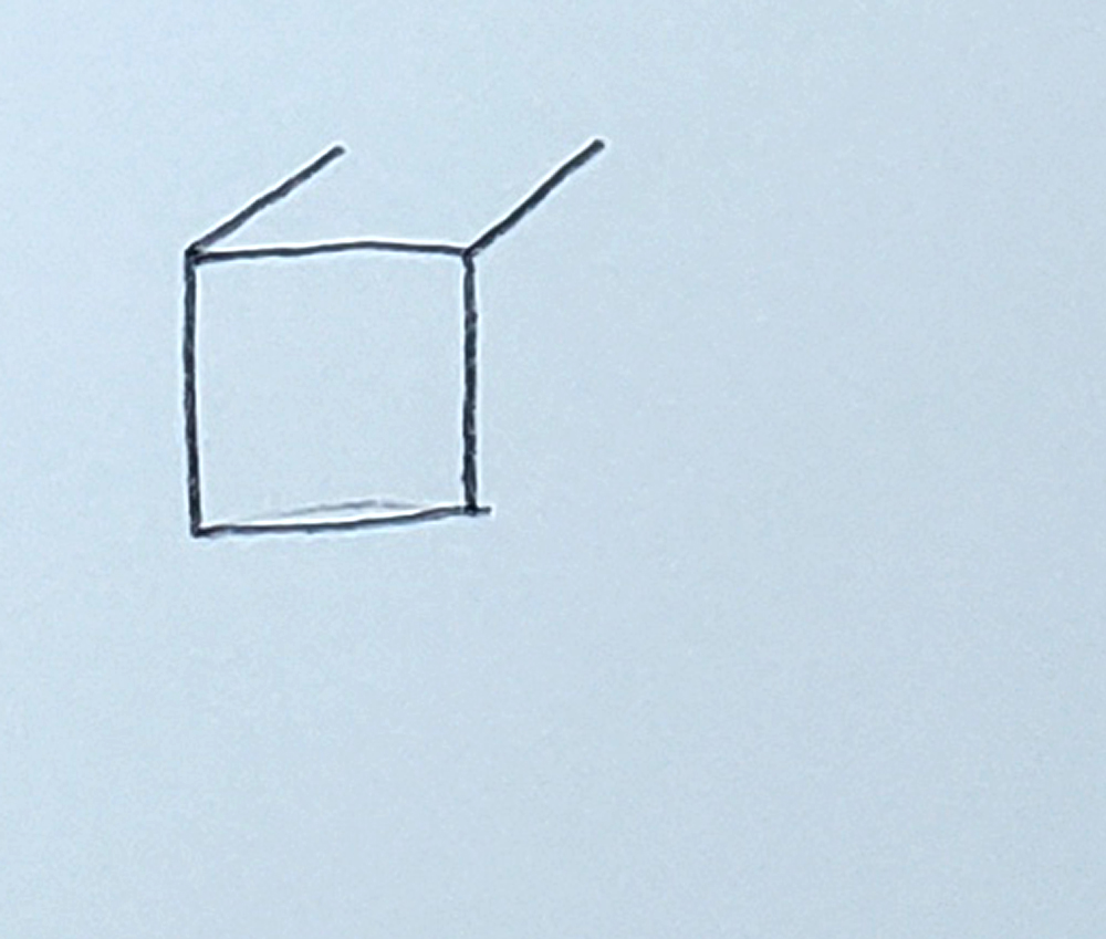 how to draw a cube_upside-down L's step 2