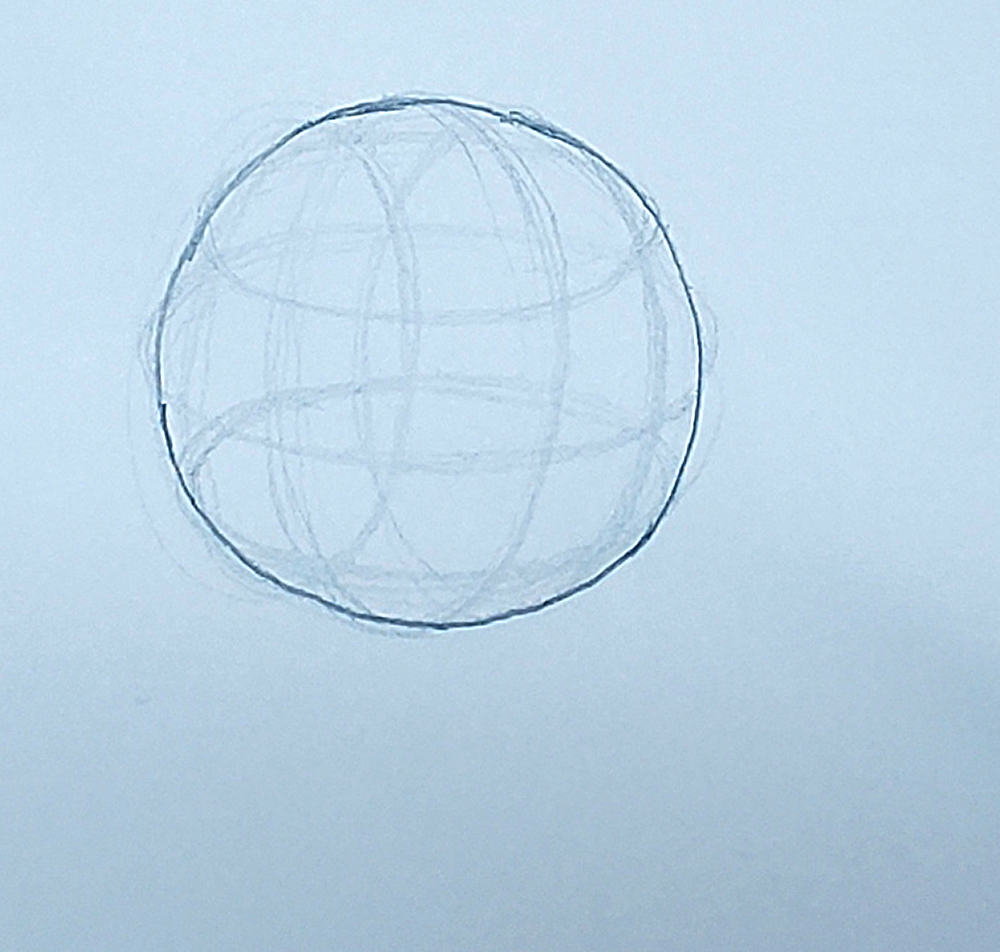 how to draw a sphere_depth with ellipses method 03