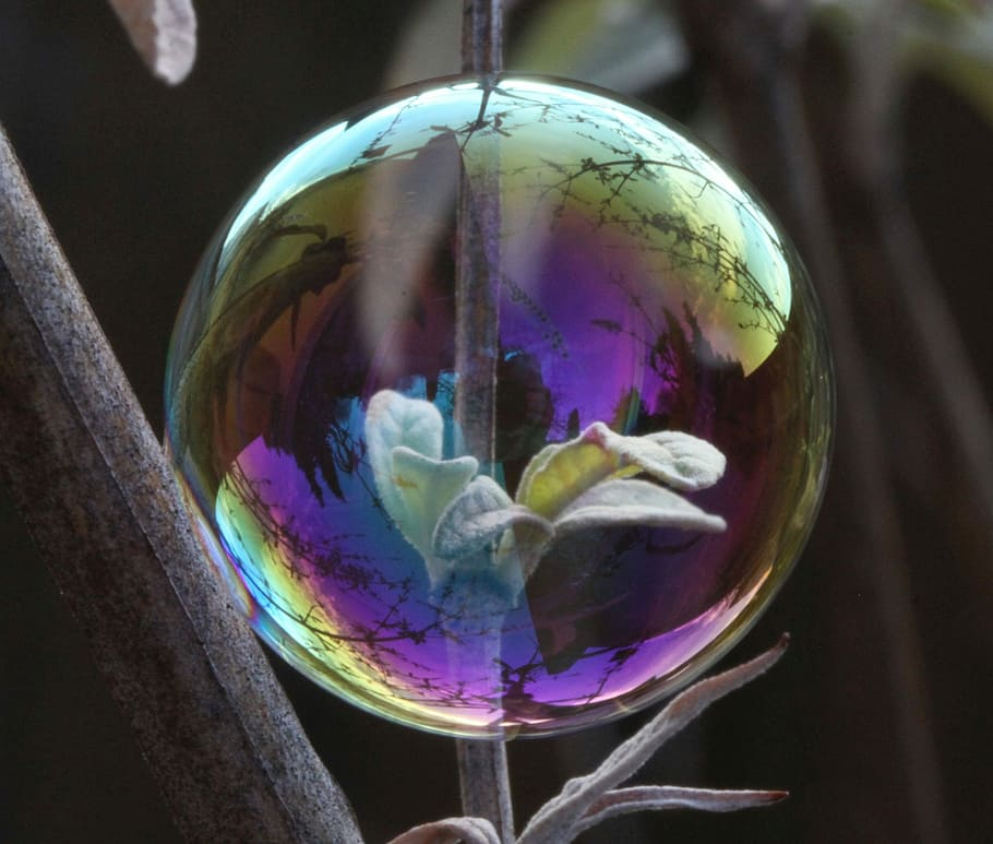 reflected light - reflections on soap bubble